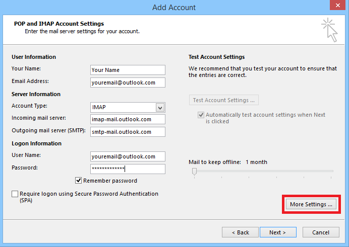Hotmail SMTP Settings