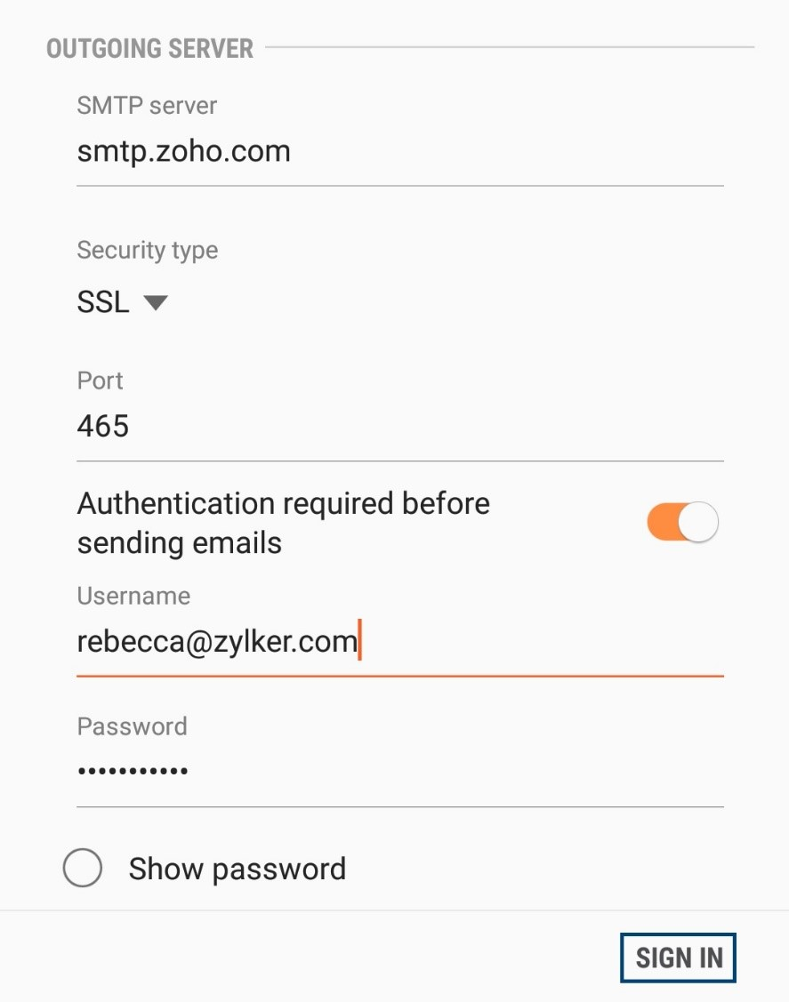 Zoho Mail Server Settings